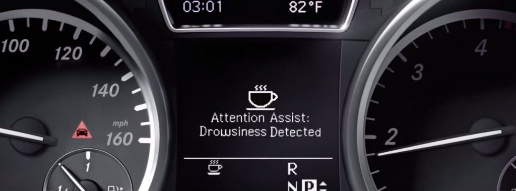dashboard with drowsiness indicator
